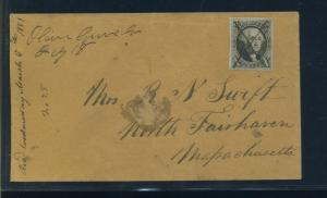 Scott #2 Washington Imperf Used Stamp on Cover with PF Cert Olive Grove GA