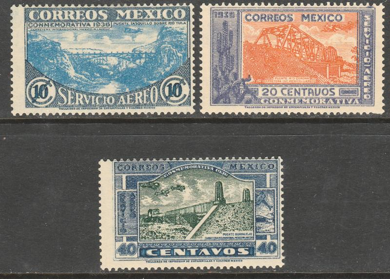 MEXICO C77-C79, HIGHWAY INAUGURATION, SET OF 3, UNUSED, H OG.(294)