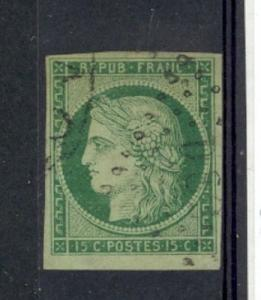 France Scott 2 Used (minor thin) Catalog Value $900.00
