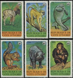 Ivory Coast 1979 Sc 528-533 Monkey squirrel hippo chimp manatee WWF CV $36.50
