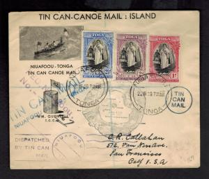 1939 Tonga Toga Tin Can Canoe Mail Illustrated Cover to the USA Quensell Signed
