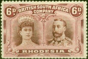 Rhodesia 1910 6d Brown & Mauve SG144 Fine Mtd Mint