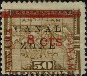 CANAL ZONE #20 1905 8c OVERPRINT ON 50c COLUMBIA ISSUE--MINT-OG/HINGED--VF