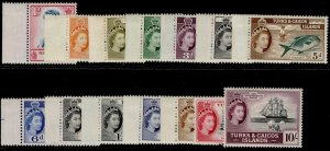 TURKS & CAICOS ISLANDS QEII SG237-250, short set, NH MINT. Cat £90.