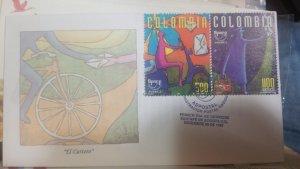 O) 1997 COLOMBIA, AMERICA UPAEP - THE POSTMAN - BICYCLE - CARVAJAL. PAINTING