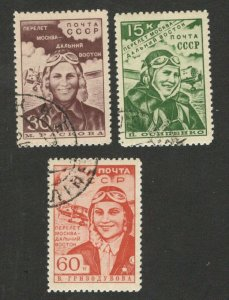 RUSSIA - USED SET - FLIGHT MOSCOW FAR EAST  - AIRMAIL - PLANE  - PILOTS - 1939.
