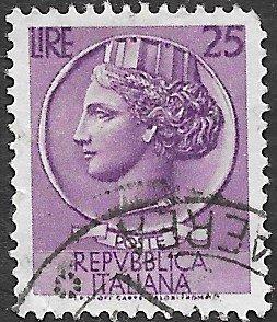 Italy Scott #630 25 l Italia (1953) Used