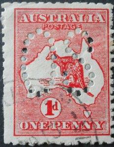 Australia 1913 One Penny Die II Kangaroo Official SG O2d used