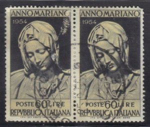 ITALY SCOTT# 664  USED PAIR 60L 1954  MADONNA   SEE SCAN