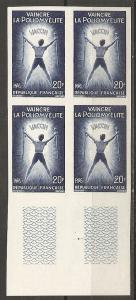 France 933 1959 Polio IMPERF Block of 4 NH c.v. 140 Euro