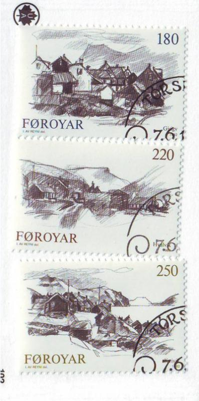 Faroe Islands Sc 83-5 1982 town view stamps used