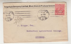 AUSTRALIA,1922 KGV 2d Red cover, Dalgety & Co to Hawkesbury Agricultural College