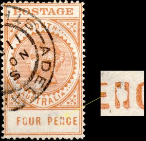 SOUTH AUSTRALIA - 1906-12 - broken N in PENCE plate flaw on SG299a 4d orange