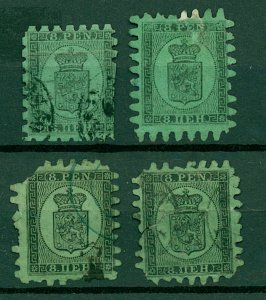 Finland 1866 8p black on green Arms Roul sg46 cv£900+ (4v) Mixed Condit Stamps