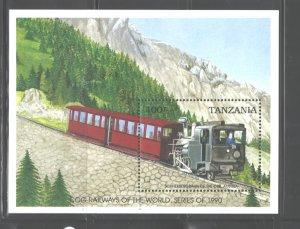 TANZANIA  1990   TRAINS  M.S.  #666  MNH