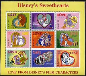 Palau 1996 Disney Sweethearts sheetlet containing set of ...