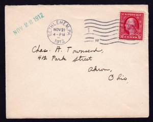 US STAMP WASHINGTON 2 CENT RED TIED TO PETITE COVER BETHLEHEM PA 1912