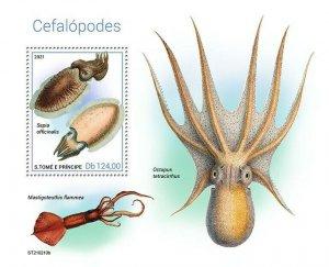 Sao Tome & Principe 2021 MNH Marine Animals Stamps Cephalopods Octopus 1v S/S