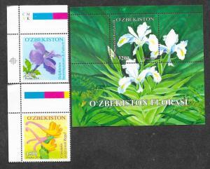 Uzbekistan Mint NH Souvenir Sheet Flora Fauna Flowers!