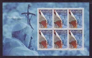 Gibraltar-Sc#1025-unused NH sheet-Pope John Paul II-2005-