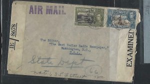 TRINIDAD & TOBAGO COVER (P3009B)1943 KGVI 24C+6C CENSOR A/M TO  USA