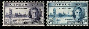 CYPRUS SG164/5 1946 VICTORY FINE USED