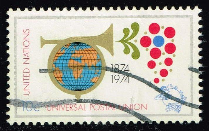 UN New York #246 Posthorn Encircling Globe; Used (0.25)
