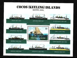 Cocos (Keeling) Is.-Sc#114-unused NH sheet-Ships-Barrel Mail-1984-