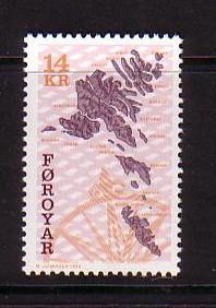 Faroe Islands Sc  343 1998 14 kr map stamp mint NH