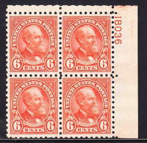 US #587 XF NH Plate block of 4. As nice as they come!