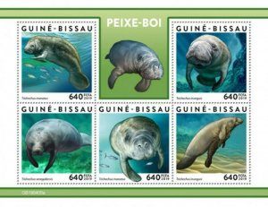 Guinea-Bissau - 2019 Manatee on Stamps - 5 Stamp Sheet - GB190405a