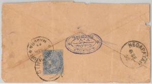 STRAITS SETTLEMENTS -  POSTAL HISTORY -  COVER from SINGAPORE to INDIA  1893