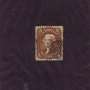 SC# 75 USED 5 CENT JEFFERSON, 1862, GRID CANCEL, VERY FINE,  TAKE A LOOK!