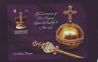 Alderney Sc 202 2003 50 yrs Coronation QE II stamp sheet ...