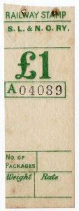 (I.B) Sligo Leitrim & Northern Counties Railway : Parcel Stamp £1