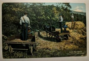 Vintage Irish Hay Carts with Primitive Solid Wheels Picture Postcard Cover
