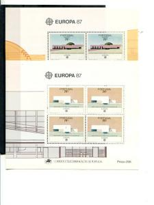 Portugal and Azores Europa  1987 Mint  VF NH sheets  - Lakeshore Philatelics