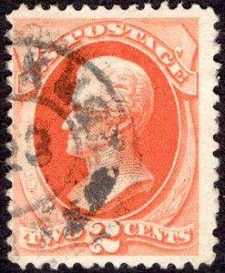 US Stamp #183 2c Vermillion Jackson USED SCV $5
