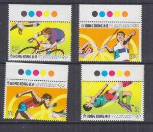 HONG KONG, 1992 Barcelona Olympic Games set of 4, marginal, mnh.