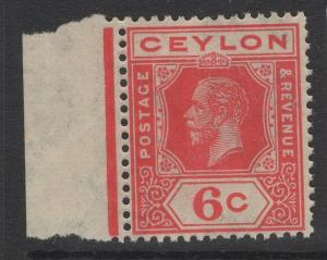 CEYLON SG342y 1921 6c CARMINE-RED WMK INVERTED & REVERSED MNH