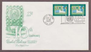 UN # 120 , General Assembly Hall NY Pair on Artmaster FDC - I Combine S/H