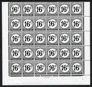 St Lucia SGD10a 16c black Block of 30 on Chalky Paper U/M