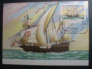 ST.THOMAS-1979-SC#538 MAXIMUM- CARD-HISTORY OF NAVIGATION-SHIPS MNH SHEET VF