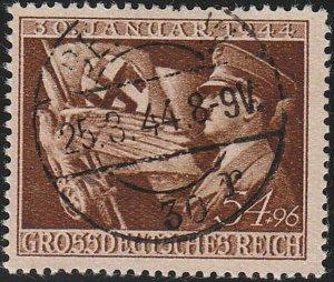 Stamp Germany Mi 865 Sc B252 1944 WWII Fascism War Era Hitler Eagle Used