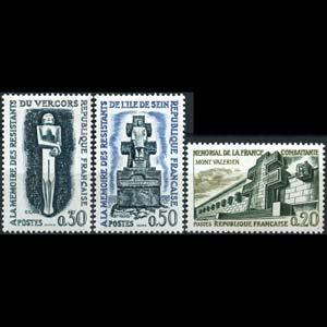 FRANCE 1962 - Scott# 1029-31 WWII Monuments Set of 3 NH