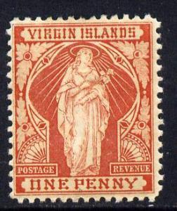 British Virgin Islands 1899 Virgin Crown CA 1d brick-red ...