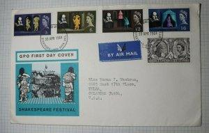 GB GPO FDC Shakespeare Festival 1964 Info Card Contents Sg 646-650
