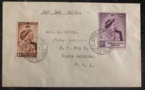 1948 Turks & Caicos First Day Cover FDC Sc 92-3 George VI Royal Silver Wedding