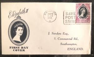 1953 Singapore Malaya Coronation first day cover FDC QE 2 Queen Elizabeth II UK5