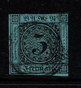 Baden SC# 8, Used, (Noted Mi# 8a), w/ Black 5 Ring Cancel, Hinge Remnant - S3638
